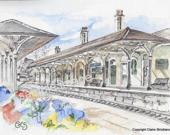 The Railway Station, Knaresborough. - Giclee Print of Original Watercolour and Pen Drawing by English Artist Claire Strickland