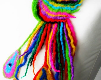 Brooch  Felted Wool  – Unique, Hand crafted Designs!-BIRD OF PARADISE