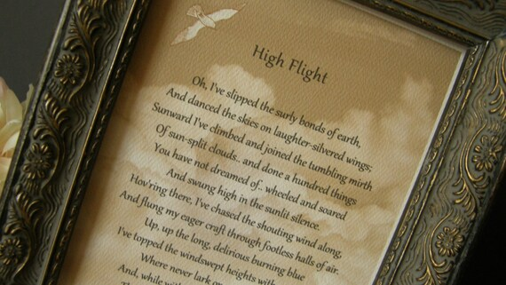 analysis of high flight poem Funeral poem high flight oh i have slipped the surly bonds of earth and danced the skies on laughter-silvered wings sunward i've climbed.