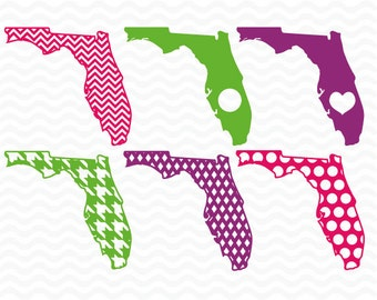 Florida monogram pattern designs, SVG, DXF, EPS, Vinyl Cut Files for use in Silhouette Studio and Cricut Design Space.