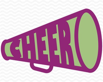 Cheer Megaphone Design, Cheerleading, SVG, DXF, EPS, for use with Silhouette Studio and Cricut Design Space. Commercial use vinyl cut file.