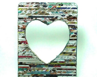 Recycled Newspaper Heart Photo Frame