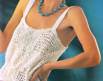 Knitted Summer Top ... Sleeveless Summer Top ... PDF Knitting  Pattern ... Beach, Resort, Holiday ... Instant Download Pattern
