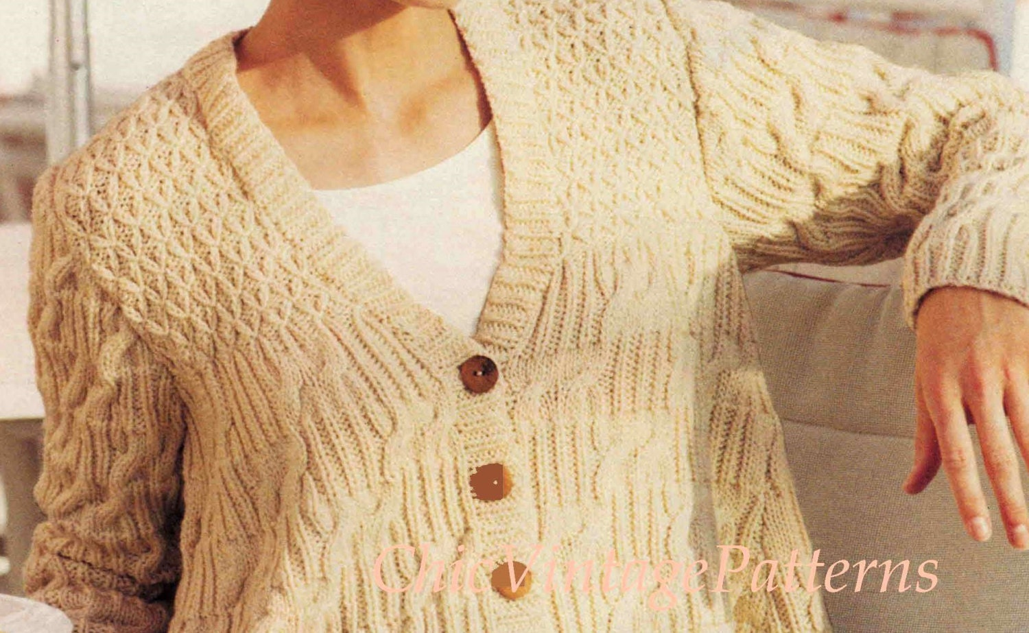 Knitting Pattern Boxy Jacket : Knitted Jacket ... Ladies Boxy Cable/Smocked Cardigan ... Instant Download .....