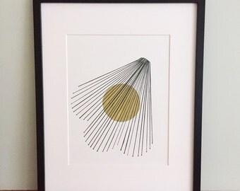 Gold Circle Black Lines
