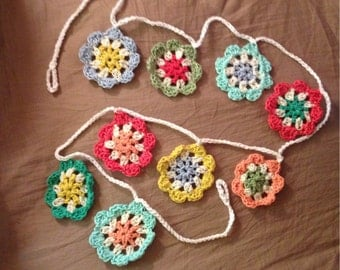Flower garland  crochet flower bunting, home decor, wall hannging, housewarming,nursery bunting pink blue coral wall decor, baby shower gift