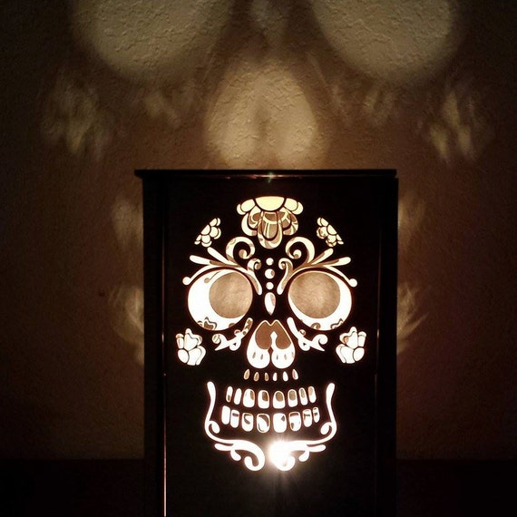Table lamp - desk light - night light - Day of the dead - sugar skull - Lanterns - laser cut creation - Dia de los Muertos