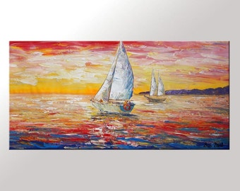 Sail Boat Painting, Abstract Painting, Seascape Painting, Large Art, Original Art, Wall Art, Large Painting, Canvas Painting, Oil Painting
