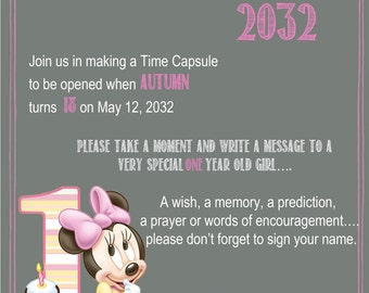 Minnie Mouse Chalkboard Time Capsule Sign for a First Birthday