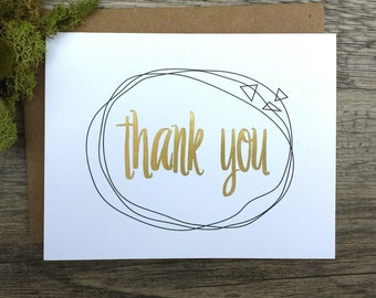 Gold foil Thank You card with envelope - Handmade