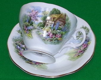 Queen Anne Country Cottage Cup and Saucer (#2067)