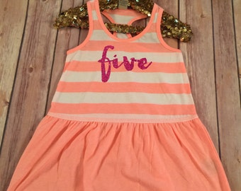 Fifth Birthday Dress 5th Birthday Girl Outfit Birthday Dress 5th Birthday Tank Dress Five Year Old Dress
