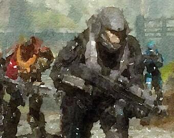 Halo series (7) digital Watercolor Poster Print Art