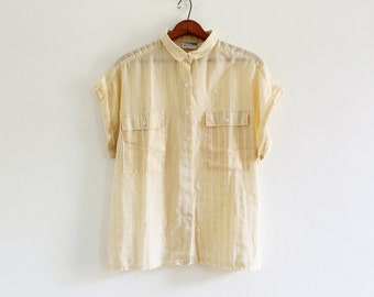1980s Russ Togs pale yellow & white striped sleeveless button down shirt
