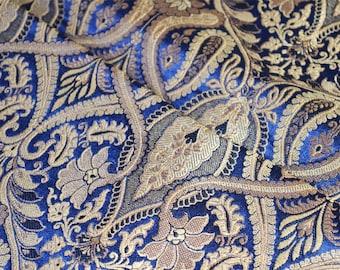 Half Yard Navy Blue and Gold Floral Weaving Brocade Fabric - Indian Silk Brocade for Wedding Dress - Banaras Brocade Art Silk Fabric