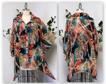 New Sheer Oversize Over layering Lagenlook Plus size Buttoned down Printed Blouse xl/1xl/2xl and 3xl/4xl/5xl