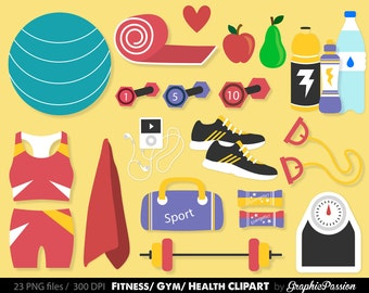 Fitness clip art images, gym clip art, Health Clipart, fitness vector, royalty free clip art - INSTAND DOWNLOAD