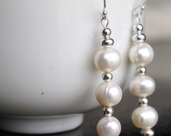 Genuine Freshwater Pearl & Silver Dangle Earrings