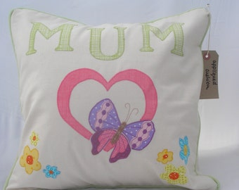 Handmade appliqued cushion - a gift for our special mums