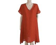 Red Oversized Tunic, Linen Cover Up, plus size linen beach tunic, beach dress, linen shirt, loose style resort wear, linen outfit
