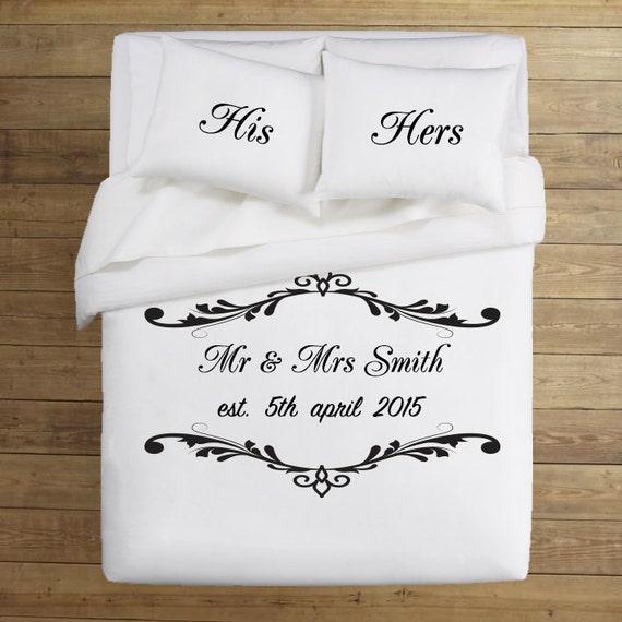 ensemble housse de couette de mariage couple literie mr et. Black Bedroom Furniture Sets. Home Design Ideas