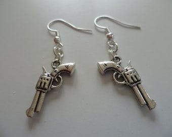 Gun earrings,pistol earrings,weapon,revolver,hunter,silver gun, gun jewelry,dangle and drop,gift,fandom,small charm,weapon jewelry
