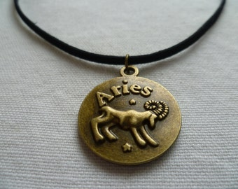 Aries choker,zodiac jewelry,Aries necklace, zodiac necklace,horoscope,aries jewelry,black choker,astrology,star sign,suede choker,goat, ram