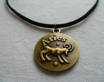 Aries choker,Aries necklace, zodiac necklace,horoscope,aries jewelry,black choker,astrology,star sign,suede choker,goat, ram
