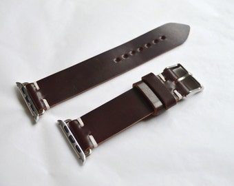 Apple watch strap Horween shell cordovan no.8 burgundy with adapters 38mm and 42mm versions