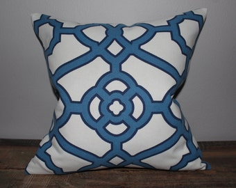 White Blue Pillow Cover