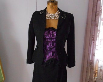 Sophifiscated 1940's Black Suit with Beaded Details