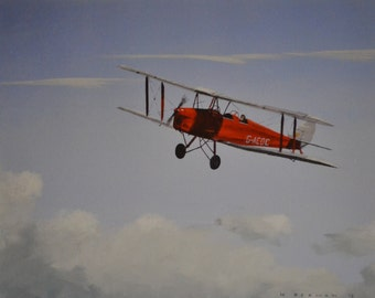 A De Havilland Tiger Moth flying above the clouds. A limited edition Giclee print from my acylic painting. A beautiful old plane picture.