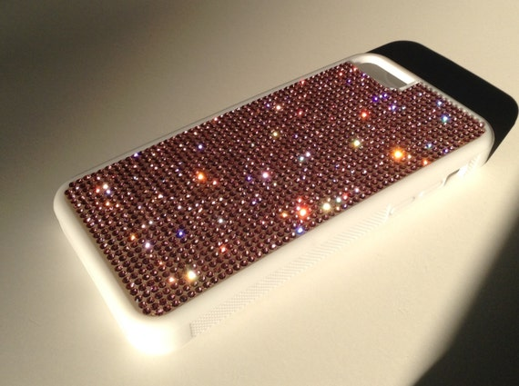iPhone 5C  Pink Diamond Crystals on White Rubber Case. Velvet/Silk Pouch Bag Included, Genuine Rangsee Crystal Cases.