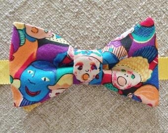 Multicolor Print Bow Tie, Face Print Bow Tie, Pre-Tie & Self Tie Available