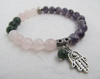 Hamsa bracelet, gemstone bracelet, amethyst bracelet