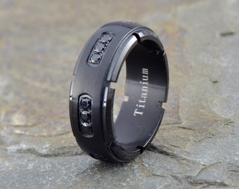 Titanium Wedding Band, Mens Wedding Band, Black 18 CZs, His, Hers,Titanium Anniversary Rings, Bands, Mens Black Ring, Mens Ring