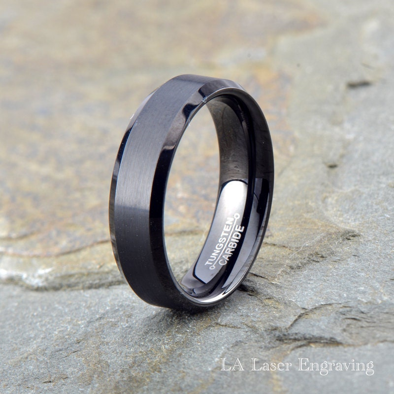 black brushed tungsten carbide wedding band by