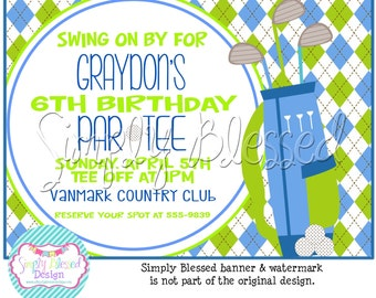 TEE TIME Golf Birthday Invitation Printable - DIY By: SimplyBlessedDesign