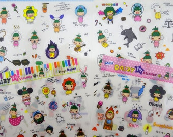 FOUR pages Korean girl & sushi stickers - kawaii emoticon faces - food and eating - cute dumpling - sweets and treats - tea dessert planner