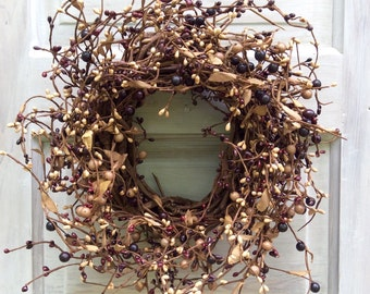 Pip Berry Wreath --Grapevine Wreath - Large Candle Ring -- Centerpiece -- Mulberry Pip Berry Wreath