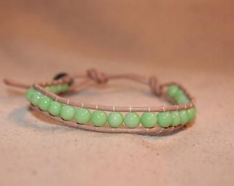 Seafoam Green and Tan Wrap Bracelet