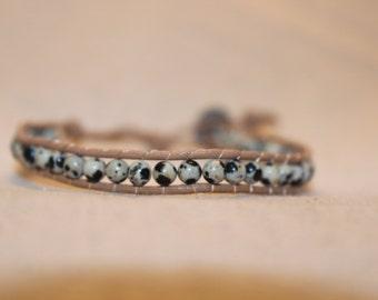 Dalmatian Jasper Wrap Bracelet