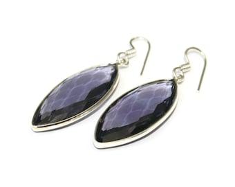 Silver Amethyst Marquise Earrings, Amethyst Faceted Earrings