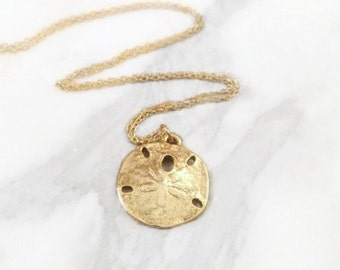 Sand Dollar Necklace • 14k gold filled chain • seashore trinket • beachcomber, ocean lover's gift • nature charms