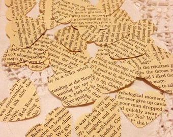 Large Bespoke Vintage Book Page Love Heart Wedding Table Decoration, Event Confetti, Table Scatters,
