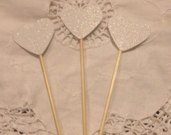 White Glitter Heart  Cupcake Cake Toppers - Wedding, Birthday, Event. Set of 10