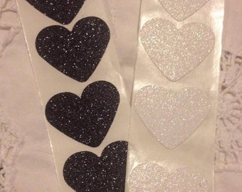 Large Black and White Glitter Heart Wedding Event Envelope Seals - Sweet Love Stickers x 50