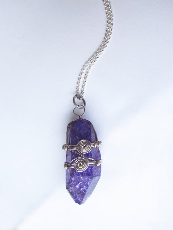 Wire wrapped purple quartz necklace
