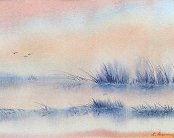Misty Wetland Landscape Painting. Morning mist & grasses watercolor. Quiet habitat, marsh, duck hunting art. Signed, mat 14x18, Not a print!