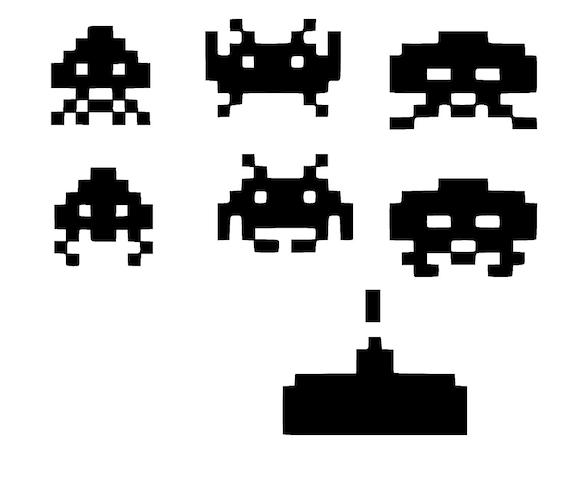 8 bit space invader inspired sticker vinyl decals car window for 8 bit decoration